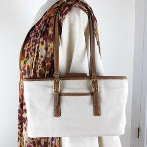 COACH Vintage Bag Brown Leather & Canvas 9869